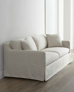 """""""Annalise"""" Sofa - Horchow CBW-I like this sofa…would prefer wider arms.  Like the little bit slouchy, yet structured look.  Fabric needs to be SOFT, but might not be since it's a poly/linen blend."""