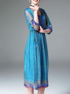 ELENYUN ~ ~  Blue Vintage Floral-print 3/4 Sleeve Beaded V Neck A-line Silk Midi Dress  Outer shell 100% silk, inner lining 100% polyester  ||| StyleWe |||
