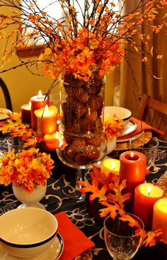 Thanksgiving place settings & centerpiece ToniK Տ℮ʈ ìʈ Up Thanksgiving table decoration ideas
