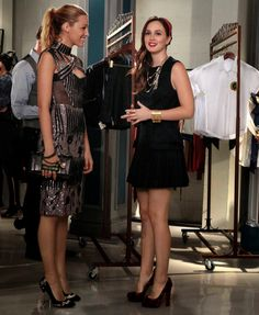 Blake Lively: Peter Pilotto Fall 2012 Embellished Dress - Valentino Noir VaVa Voom Studded Clutch - Brian Atwood Embellished Pumps <> Leighton Meester: Alexander McQueen Pre-Fall 2011 Plaid Dress - Christian Louboutin 'Bibi' Tartan Pumps - Louis Vuitton necklace - Dauphines Headband