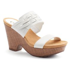 Chaps Jaslyn Women's Wedge Sandals, Size: 9 B, White