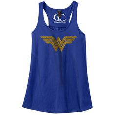 Women's District Made Ladies Tank Top. Wonder with glitter ($18) ❤ liked on Polyvore featuring tops, royal blue, tops & tees, glitter tank, glitter top, blue top, royal blue tank top and royal blue top