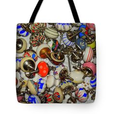 Colors Tote Bag featuring the photograph Antique Drawer Pulls by Len-Stanley Yesh