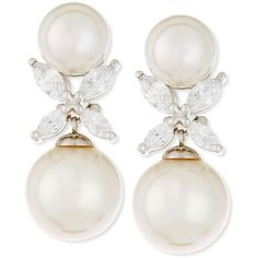 Majorica 9.5mm Round Pearl & Marquis CZ Crystal Drop Earrings (275 CAD) ❤ liked on Polyvore featuring jewelry, earrings, white, post earrings, post drop earrings, drop earrings, crystal earrings and pearl drop earrings