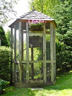 My current aviary is a transformed, sturdy, wooden playhouse that is truly perfect but for the bees and the fact that I cannot stand up inside.  I'd love something this tall that allows for my cockatiels to roost higher that the fence cats prowl at night.