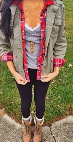 fall, winter, gray, cami, plaid, red, anorak, olive, black, combat boots, skinny jeans, layers