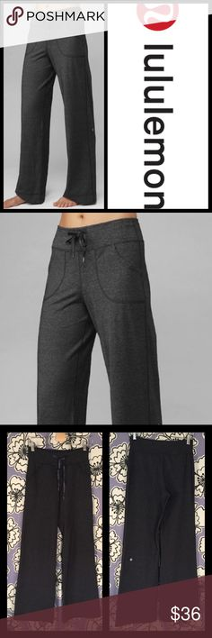 """Lululemon Yoga Still Pants in Static Charcoal Sz 2 Brand: LuLulemon Size: 2 Description: Some wear (inner thigh and bottom); drawstring waist; front pockets; loose fitting legs Condition: Good Waist: 26"""" Hip: 34"""" Rise: 10"""" Inseam: 33"""" Item #1609 Bundle Discount Available! Reasonable offers welcome! No trades please.. Thanks for stopping by!! #Poshmark #Poshmarkapp #Poshmarkcloset lululemon athletica Pants Track Pants & Joggers"""