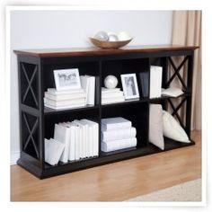 Belham Living Hampton Console Table Bookcase in Black/Oak