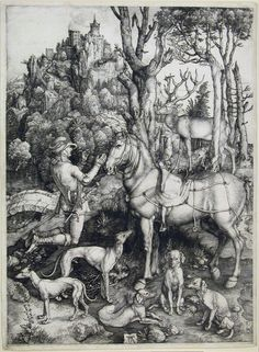 Albrecht Dürer  (Nüremberg, 1471 – Nüremberg, 1528)   Santo Eustáquio/ Saint Eustace  Buril/ Burin