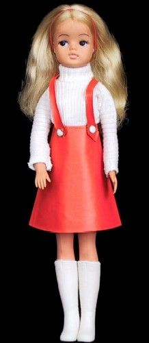 Sindy Dolls by Pedigree leather look skirt and sweater from 1963 on 80s doll
