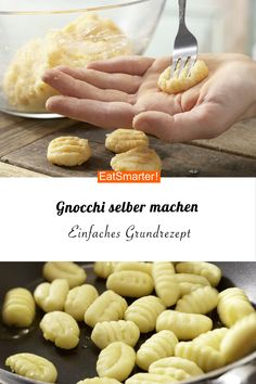 Make your own gnocchi noodle recipes With this simple basic recipe you can . - Make gnocchi yourself noodle recipes With this simple basic recipe you can quickly make gnocc - Greek Recipes, Italian Recipes, Making Gnocchi, Eat Smarter, Cooking Recipes, Healthy Recipes, Family Meals, Food Inspiration, Food Videos