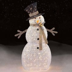 Add some upscale fun to your Christmas décor with this 48in Outdoor Pre-lit White Snowman Decoration . The Outdoor Pre-lit White Snowman Decoration is made from a 3D durable, pre-wired metal frame that is easy to assemble, and take down for storage at the end of the season. Whether placed outside on the lawn or inside beside the Christmas tree, this decor is a fun and pretty way to celebrate the holidays that will delight you and your family for many years to come.