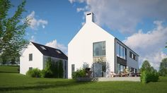 The design reflects traditional characteristics of rural farmhouse but the detailing is executed in a contemporary manner. House Designs Ireland, L Shaped House, House Outside Design, Woodland House, Contemporary Barn, Rural House, Future House, Modern Architecture, Modern Farmhouse