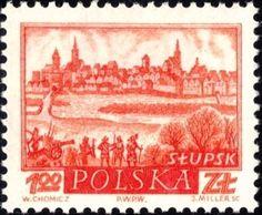 """Słupsk Witold Chomicz zaprojektował serię znaczków i kart pocztowych przedstawiających 20 widoków miast w serii zatytułowanej """"Historyczne miasta polskie"""" wydanej w latach 1960 i 1961. Według bibliofila i filatelisty Jerzego Dudy, należała ona do jednej z najpiękniejszych wydanych w PRL-u. Stamp Collecting, My Stamp, Family History, Postage Stamps, Ephemera, Vintage World Maps, My Favorite Things, Gallery, Fun"""