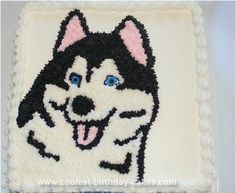 Homemade Husky Dog Cake: This Husky Dog Cake is drawn on a 14 inch square white cake. The little boy who lives down the road loves the breed of dog called Husky. This is the only # Dogs cake Coolest Husky Dog Cake Puppy Birthday Cakes, Cool Birthday Cakes, Diy Birthday, Birthday Stuff, Birthday Ideas, Birthday Parties, Fancy Cakes, Cute Cakes, Dog Cakes