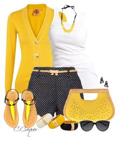 """""""Polka Dots Shorts"""" by ccroquer ❤ liked on Polyvore"""