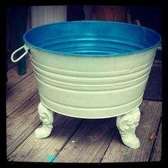 Repurposed galvanized tub made into a planter Repurposed Items, Repurposed Furniture, Painted Furniture, Diy Furniture, Furniture Design, Automotive Furniture, Refinished Furniture, Automotive Decor, Business Furniture
