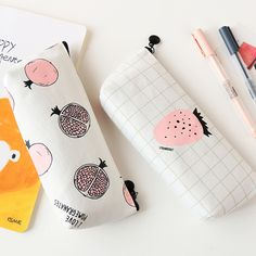Pencil Case for Girls Boys Cute Korean Fruit Strawberry Canvas Pencilcase Stationery for School Supplies Kids Pen Box Bag School Stationery, Kawaii Stationery, School Pencil Case, Cute School Supplies, Office Supplies, Cute Stationary, Pencil Writing, Pencil Boxes, Goods And Service Tax
