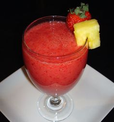 Pineapple Berry Smoothie - by Jen at my kitchen addiction!      4 ounces fresh strawberries      4 ounces fresh pineapple chunks      2 ounces frozen raspberries      1/2 cup orange juice      1 tablespoon honey (or sugar), to taste