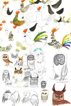 owls and feathered friends by Christian Robinson