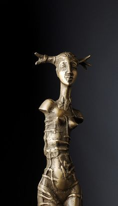Small size bronze sculpture.  Decorative woman figure.  Lost wax casting.  Figure is 129 mm height,wood base 107mm,weight 305 gr.  Nr 1 from 5 copies.    Photos are by S.Didyk.