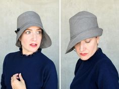 Grey rain hat ladies water resistant cloche by TerryGraziano