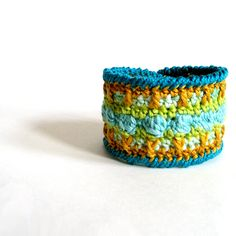Crocheted Cuff Bracelet Turquoise Green Gold by KnittingGuru