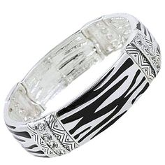 Cambria's Fancy Chunky Silver Tone Zebra Print and Crystals Stretch Bangle Bracelet