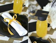 napkins folded like diplomas and grad hats on drinks