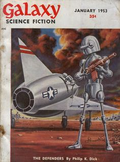 "Cover by Ed Emshwiller (""Emsh""), illustrating The Defenders by Philip K. Dick."