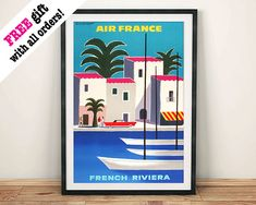 FRENCH RIVIERA POSTER: Vintage Air France Travel by ThePrintArcade