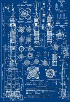 lucienballard: Blueprint of a Russian Soyuz rocket. via The Khool.