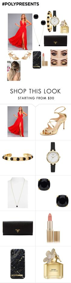 """""""#PolyPresents: Sparkly Beauty"""" by npalm06 ❤ liked on Polyvore featuring beauty, LULUS, Casadei, Kate Spade, Kendra Scott, Prada, L'Oréal Paris, iDeal of Sweden, Marc Jacobs and contestentry"""