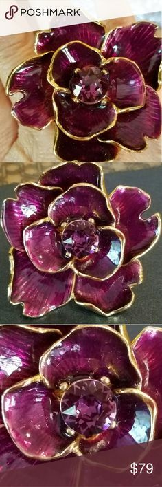 Selling this Swarovski Crystal Purple Kenneth Jay Lane Flower on Poshmark! My username is: ppamprrd. #shopmycloset #poshmark #fashion #shopping #style #forsale #Kenneth Jay Lane #Jewelry
