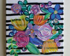 Resumen de rosas arte floral flor pintura Floral por fiberandgloss
