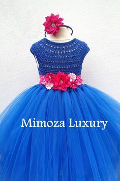 Royal Blue Flower girl dress Sapphire blue tutu от MimozaLuxury