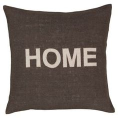 Bring a pop of style to your sofa or favorite reading nook with this charming down-filled jute pillow, featuring a bold typographic motif for eye-catching appeal.  Product: PillowConstruction Material: Jute coverColor: Charcoal and whiteFeatures:  Insert includedBold typographic motifZipper closureMade in India
