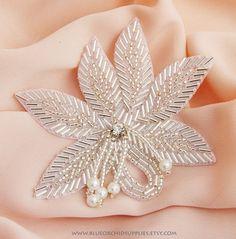 Rhinestone Applique, Crystal Applique, Beaded Applique - Sashes Fascinators Headbands Apparel Wedding Bridal - Beaded Leaf Pearl Dangle