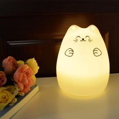 Colorful Cat Silicone LED Night Light Rechargeable - ePeriod Led Lighting Store Baby Night Light, Led Night Light, Led Light Store, Cute Night Lights, Cat Light, Bedroom Closet Design, Cat Colors, Light Sensor, Cool Cats