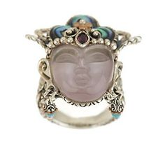 Barbara Bixby Sterling/18K Gemstone Quan Yin Ring