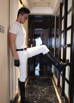 Booted Asian in white jeans with normal bulge. Mens Leather Pants, Leather Boots, Gay Pride, Coming Out, Mens Riding Boots, Men Boots, Riding Gear, Batman Robin, Mode Alternative