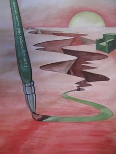 perspective with a new knowledge of paint mixing to create a surrealist painting.