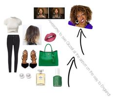 """Saw glozell at the airport.Scratch that off my bucket list."" by christiannawebster3 ❤ liked on Polyvore featuring Cheap Monday, Aquazzura, Prada, Nouv-Elle, Chanel and Essie"