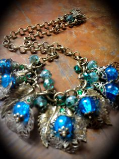 Take me to the prom statement necklace  blue aqua by superdoss, $40.00