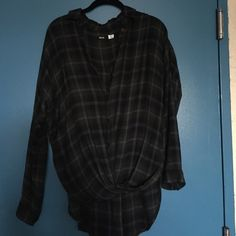 Urban Outfitters high low plaid shirt Green paid. Longer in back. Slightly twist in front with buttons. Will fit a small. Urban Outfitters Tops