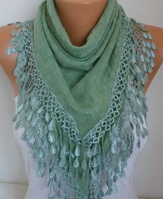 Almond Knitted Scarf Shawl Lace Oversized Bridesmaid by fatwoman