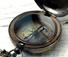 """Antique Finish Reproduced """"Ship"""" Nautical Brass Push Button Pocket or Necklace Compass For Both Men and Women by CoughingCowNChicken Anna Y Elsa, A Darker Shade Of Magic, Treasure Planet, Black Sails, Killian Jones, Pirate Life, Man Up, Le Far West, Pirates Of The Caribbean"""