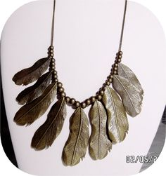 Brass Bead and Feathers Necklace 20inch 2inch by clinejewels, $15.65