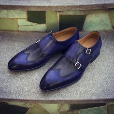 Magnanni Ian Ocean and grey, exclusive double buckle monk strap available at http://www.magnanni.com/shop/ian-ocean-grey #MenShoes #MadeInSpain #menswear