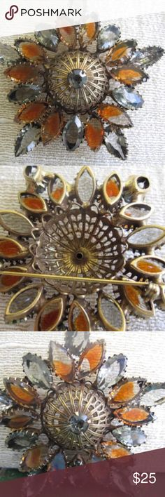 Juliana Style Gray and Amber Rhinestone Brooch This beautiful brooch has the characteristics of Juliana jewelry, and is a beautiful piece.  The stones are smoky gray and amber marquis, and are opened on thee back. They are all prong set with a lovely antique gold setting.   The stones are all secure and lovely.   Some of the amber stones may have some coloring that has faded. Or the stones may have been made this way. Either way, it does not detract from the beauty of this piece! Vintage…